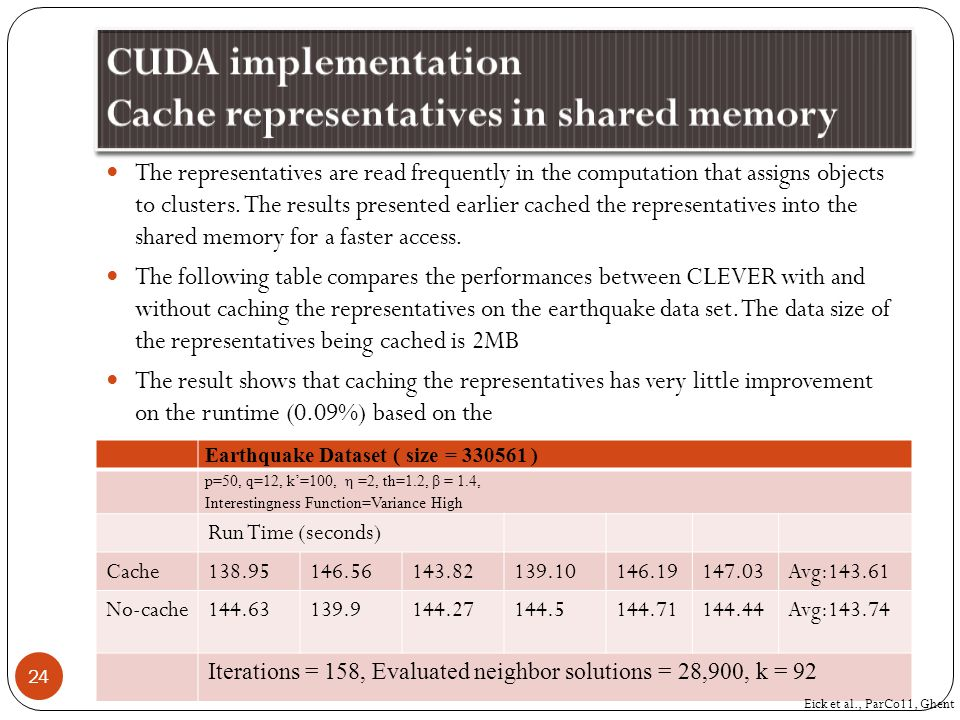 The representatives are read frequently in the computation that assigns objects to clusters. The results presented earlier cached the representatives