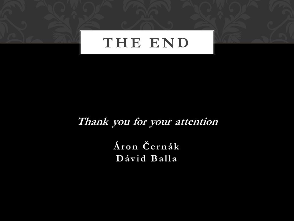 Thank you for your attention Áron Černák Dávid Balla THE END