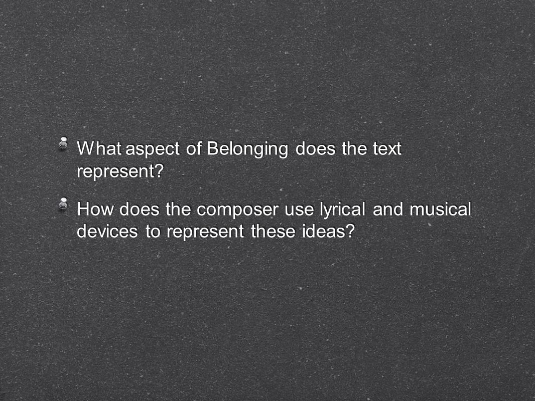 What aspect of Belonging does the text represent.