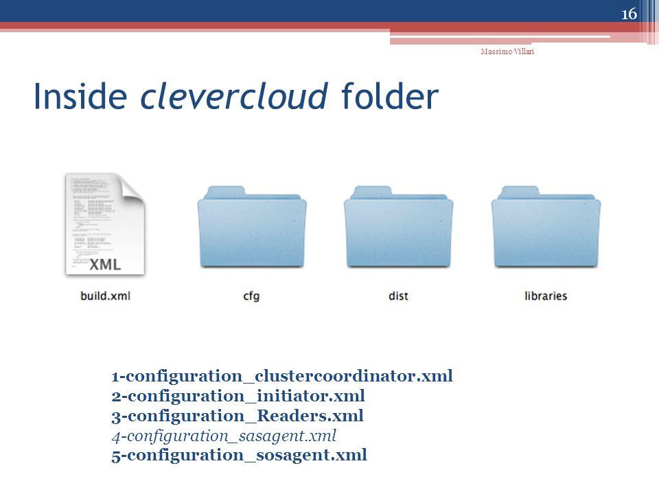 Inside clevercloud folder 1-configuration_clustercoordinator.xml 2-configuration_initiator.xml 3-configuration_Readers.xml 4-configuration_sasagent.xml 5-configuration_sosagent.xml 16 Massimo Villari