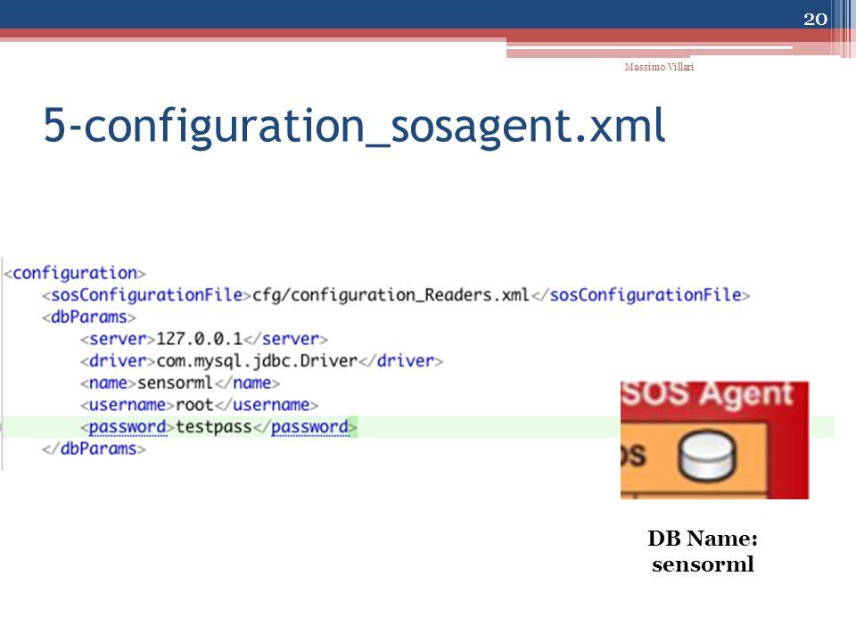 5-configuration_sosagent.xml 20 Massimo Villari DB Name: sensorml