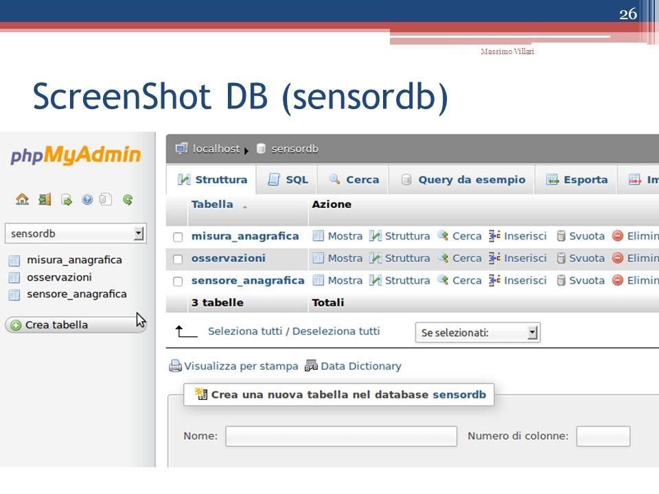 ScreenShot DB (sensordb) 26 Massimo Villari