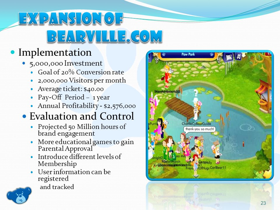 Implementation 5,000,000 Investment Goal of 20% Conversion rate 2,000,000 Visitors per month Average ticket: $40.00 Pay-Off Period – 1 year Annual Profitability - $2,576,000 Evaluation and Control Projected 50 Million hours of brand engagement More educational games to gain Parental Approval Introduce different levels of Membership User information can be registered and tracked 23