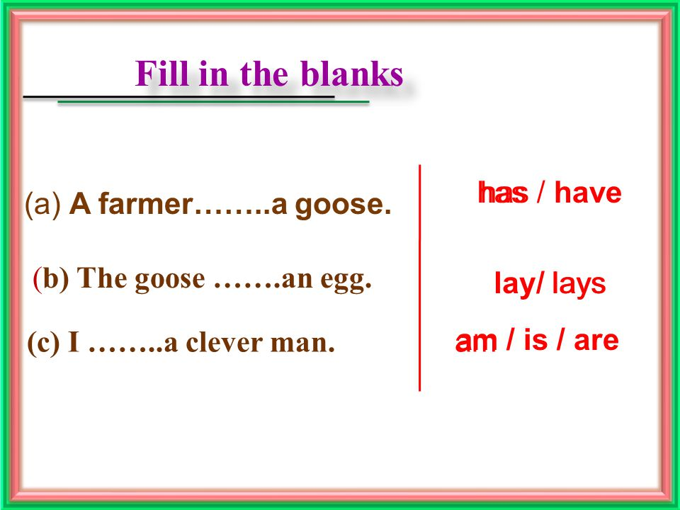 Fill in the blanks Fill in the blanks (a) A farmer……..a goose.