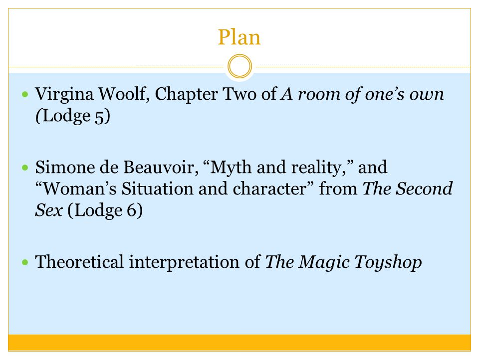 Plan Virgina Woolf, Chapter Two of A room of one's own (Lodge 5) Simone de Beauvoir, Myth and reality, and Woman's Situation and character from The Second Sex (Lodge 6) Theoretical interpretation of The Magic Toyshop