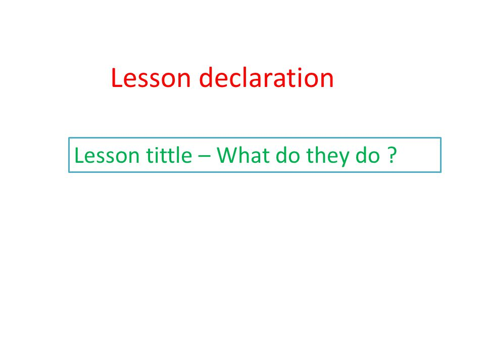 Lesson declaration Lesson tittle – What do they do