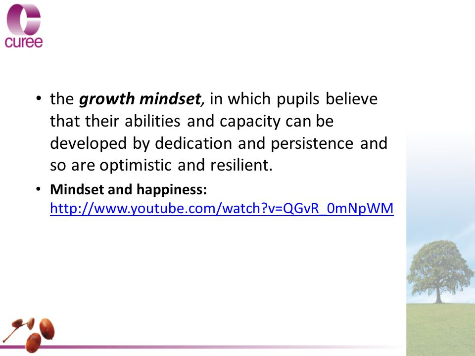 Unpacking the evidence You are in a growth mindset home; what does it look like...