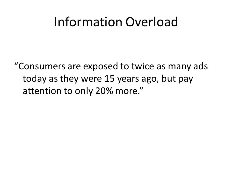 Information Overload Consumers are exposed to twice as many ads today as they were 15 years ago, but pay attention to only 20% more.