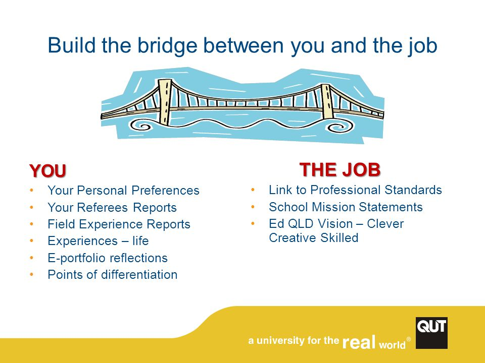 Build the bridge between you and the job YOU Your Personal Preferences Your Referees Reports Field Experience Reports Experiences – life E-portfolio r