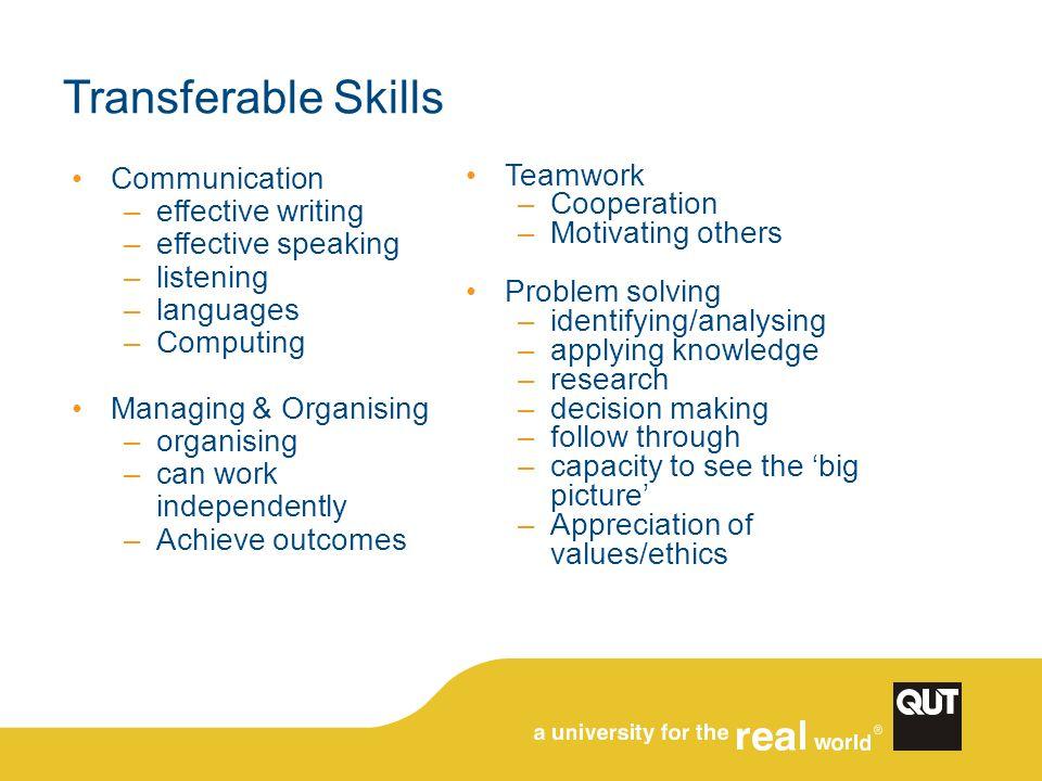 Transferable Skills Communication –effective writing –effective speaking –listening –languages –Computing Managing & Organising –organising –can work