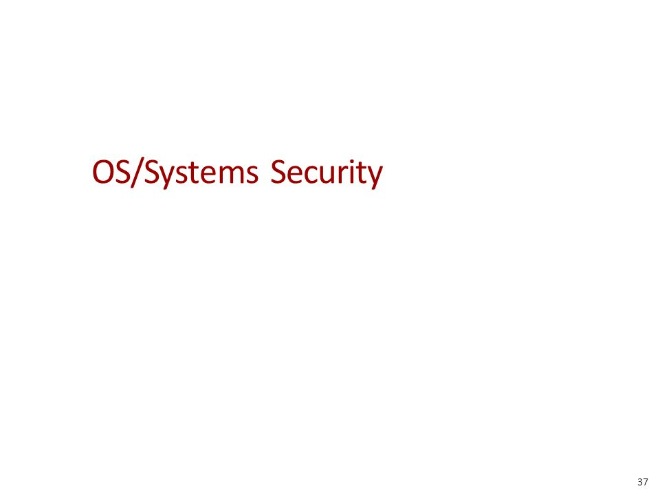 OS/Systems Security 37