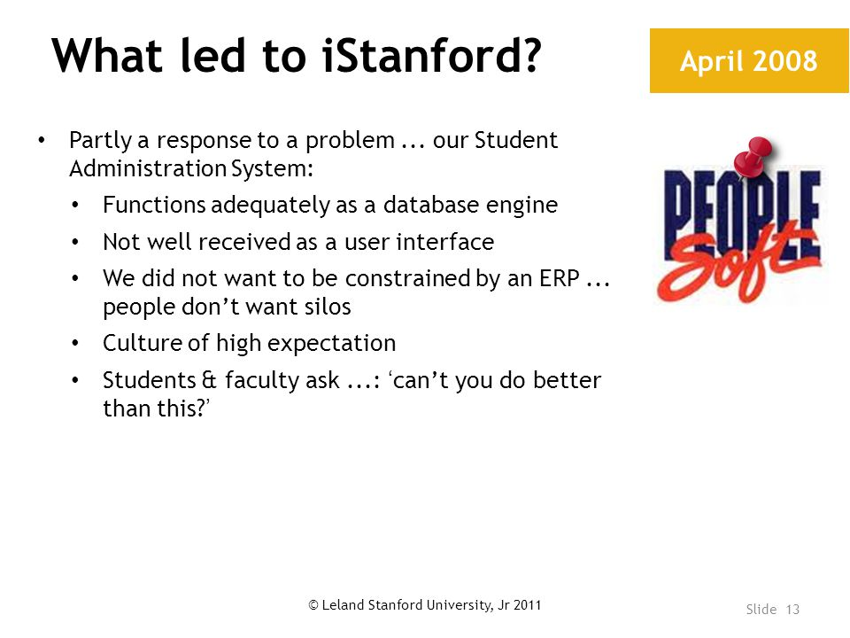 What led to iStanford. Partly a response to a problem...