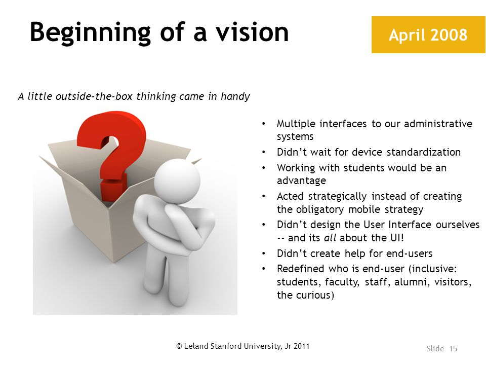 Beginning of a vision April 2008 Multiple interfaces to our administrative systems Didn't wait for device standardization Working with students would be an advantage Acted strategically instead of creating the obligatory mobile strategy Didn't design the User Interface ourselves -- and its all about the UI.