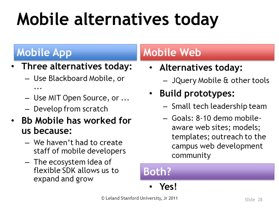Mobile alternatives today Three alternatives today: – Use Blackboard Mobile, or...
