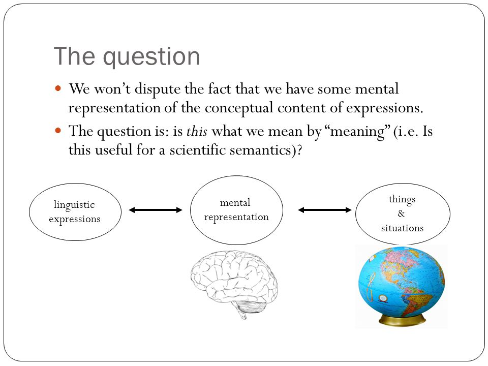 The question We won't dispute the fact that we have some mental representation of the conceptual content of expressions.