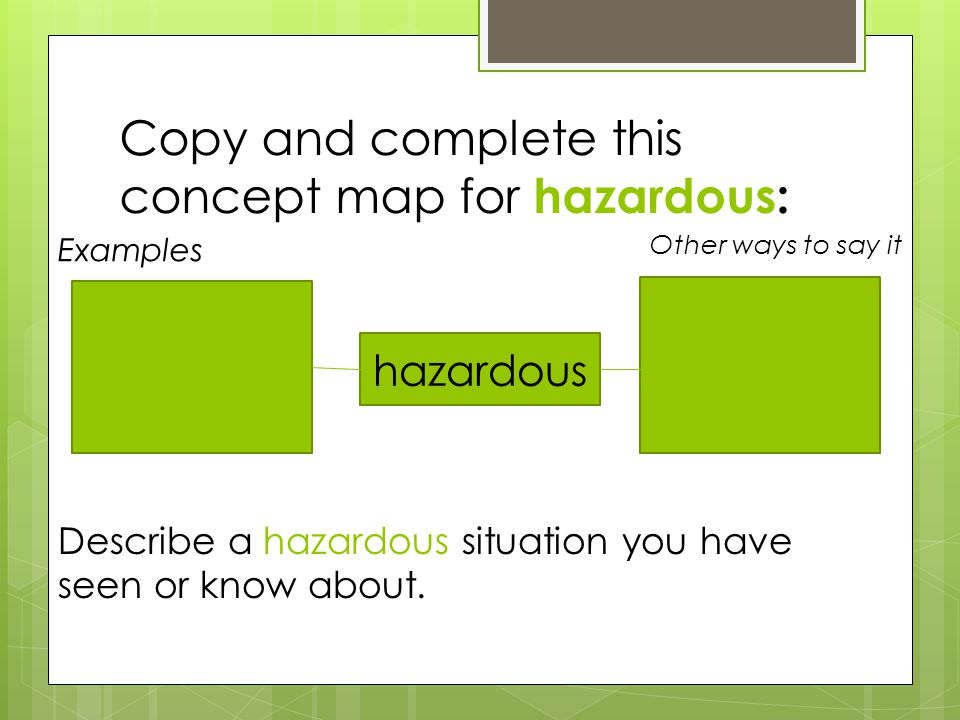 Copy and complete this concept map for hazardous: hazardous Examples Other ways to say it: Describe a hazardous situation you have seen or know about.