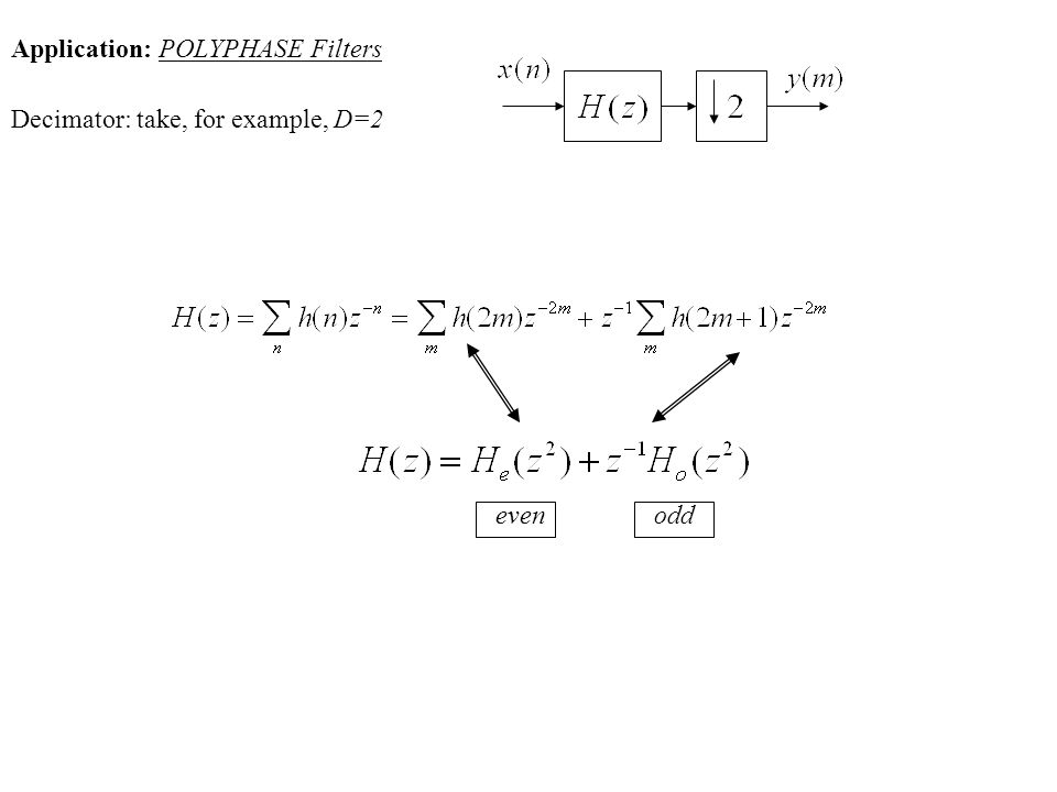 Application: POLYPHASE Filters Decimator: take, for example, D=2 evenodd