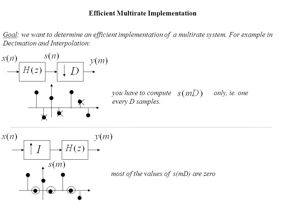 Efficient Multirate Implementation Goal: we want to determine an efficient implementation of a multirate system.
