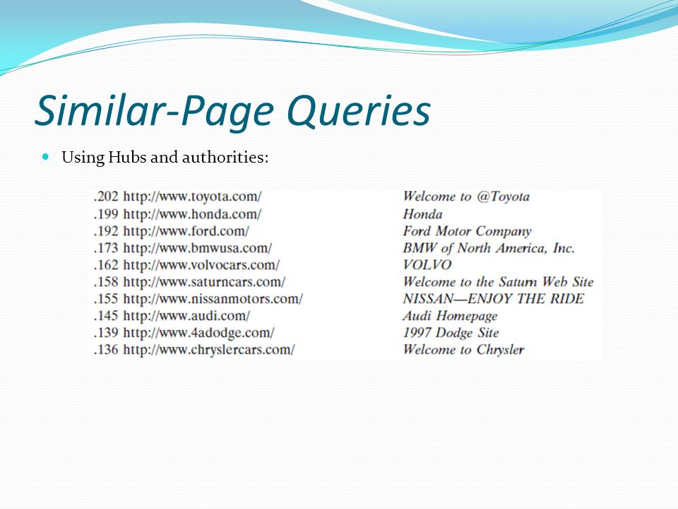 Similar-Page Queries Using Hubs and authorities:
