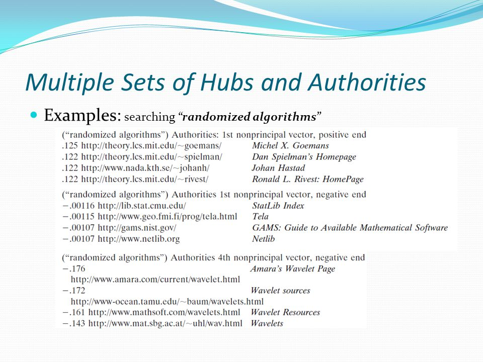 Multiple Sets of Hubs and Authorities Examples: searching randomized algorithms