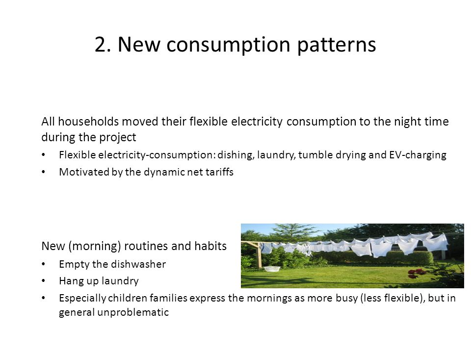 2. New consumption patterns All households moved their flexible electricity consumption to the night time during the project Flexible electricity-cons