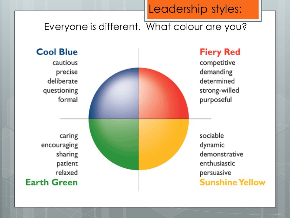 Everyone is different. What colour are you Leadership styles: