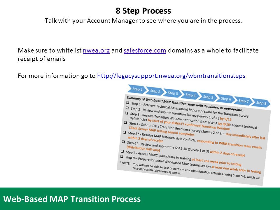 16 Web-Based MAP Transition Process Make sure to whitelist nwea.org and salesforce.com domains as a whole to facilitate receipt of emails For more information go to http://legacysupport.nwea.org/wbmtransitionstepshttp://legacysupport.nwea.org/wbmtransitionsteps 8 Step Process Talk with your Account Manager to see where you are in the process.