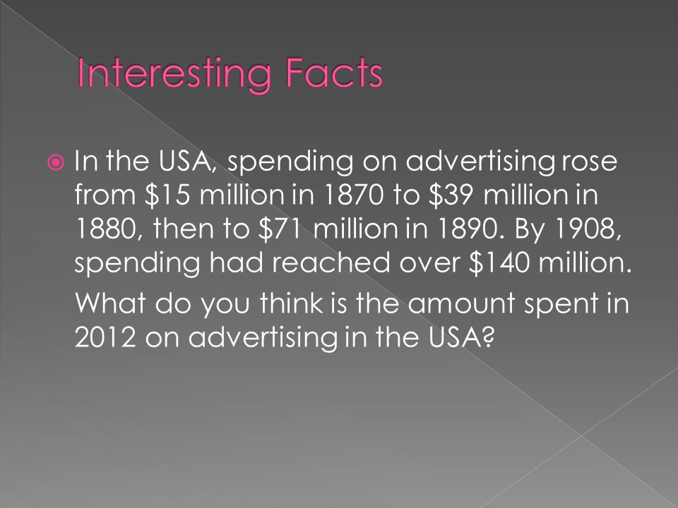  In the USA, spending on advertising rose from $15 million in 1870 to $39 million in 1880, then to $71 million in 1890.