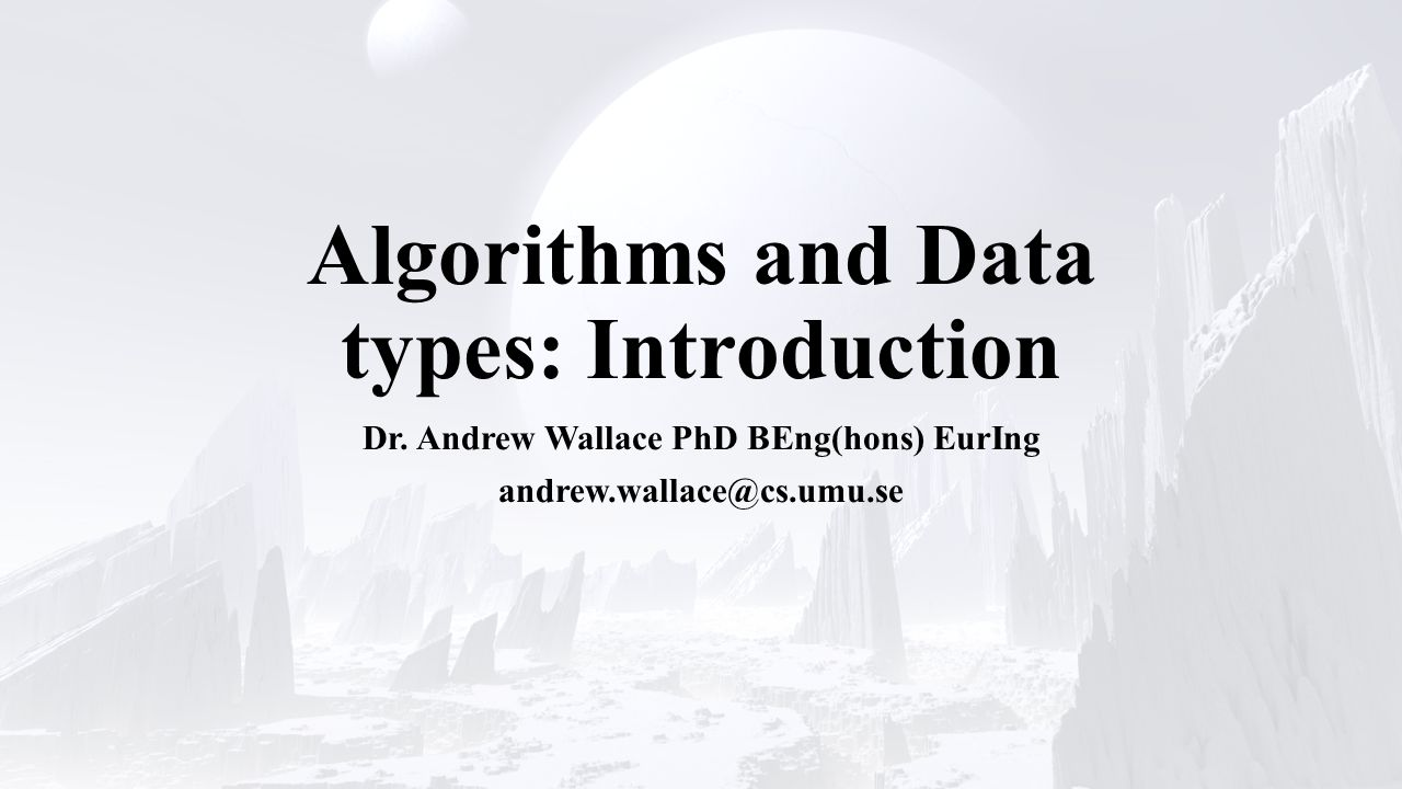 Overview Algorithms Data types Program design Writing code Testing code