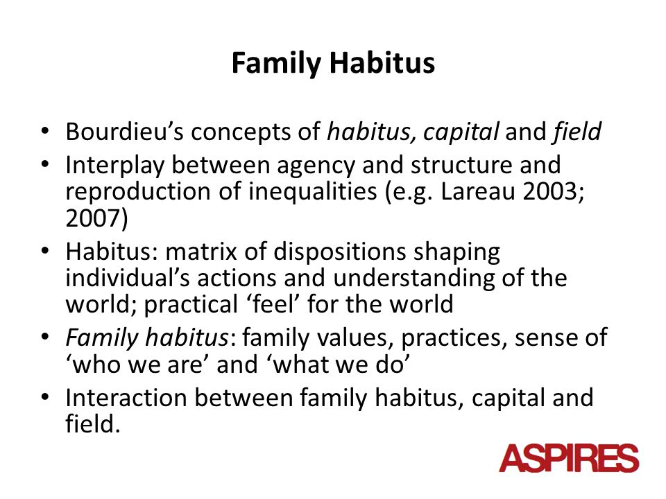 Family Habitus Bourdieu's concepts of habitus, capital and field Interplay between agency and structure and reproduction of inequalities (e.g.