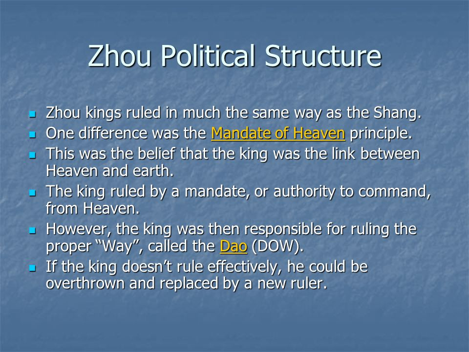 Zhou Political Structure Zhou kings ruled in much the same way as the Shang. Zhou kings ruled in much the same way as the Shang. One difference was th