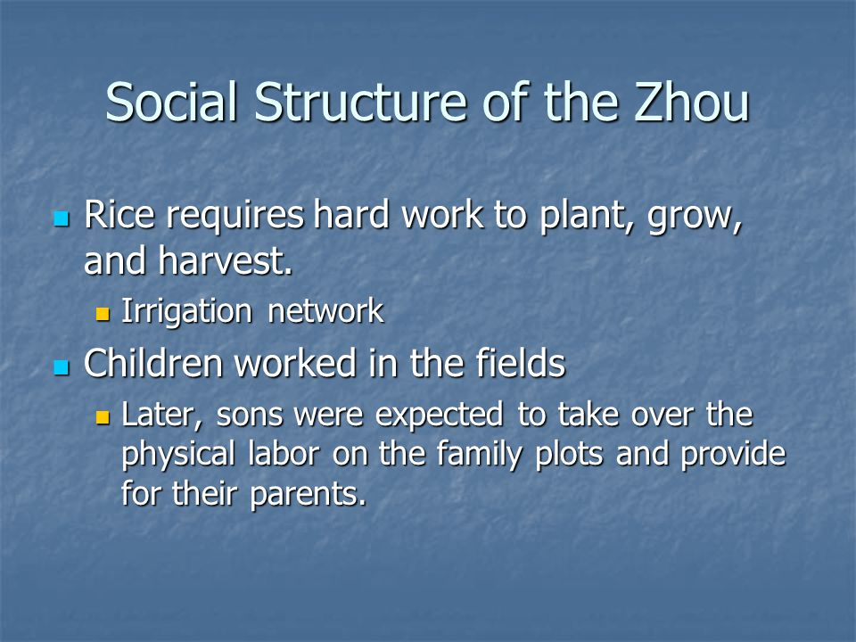 Social Structure of the Zhou Rice requires hard work to plant, grow, and harvest. Rice requires hard work to plant, grow, and harvest. Irrigation netw