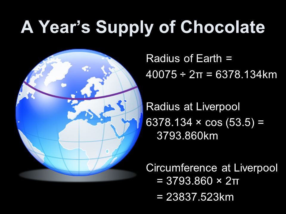 A Year's Supply of Chocolate Radius of Earth = 40075 ÷ 2π = 6378.134km Radius at Liverpool 6378.134 × cos (53.5) = 3793.860km Circumference at Liverpool = 3793.860 × 2π = 23837.523km