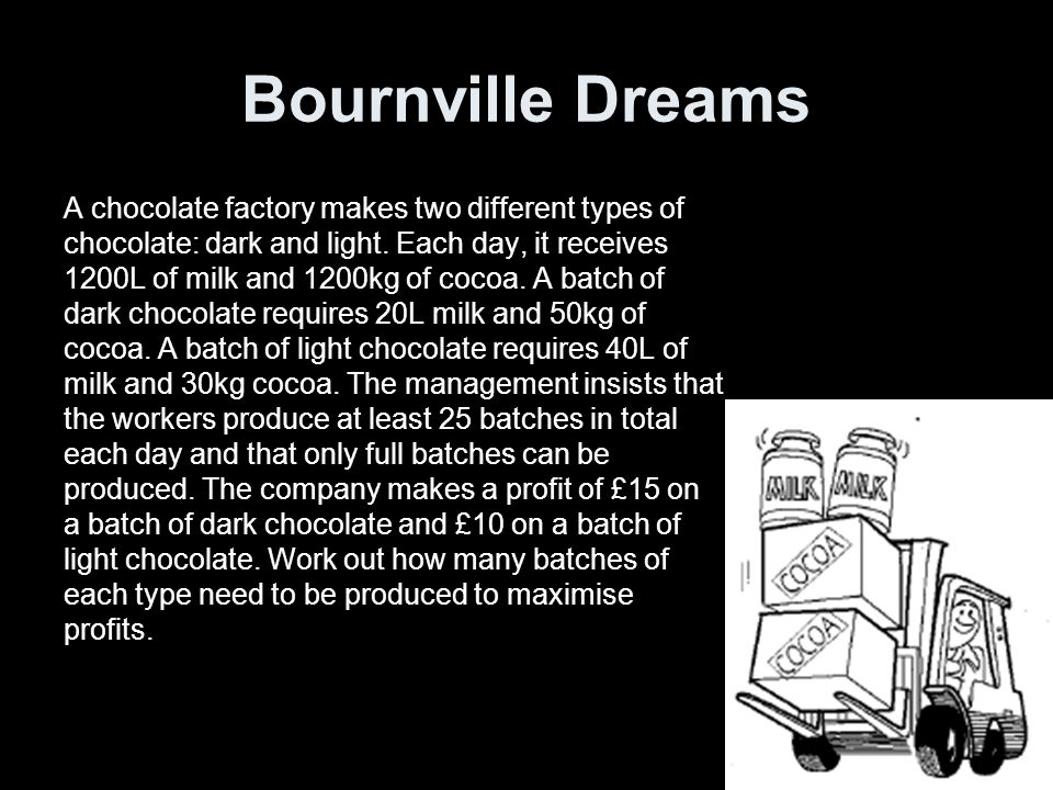 Bournville Dreams A chocolate factory makes two different types of chocolate: dark and light.