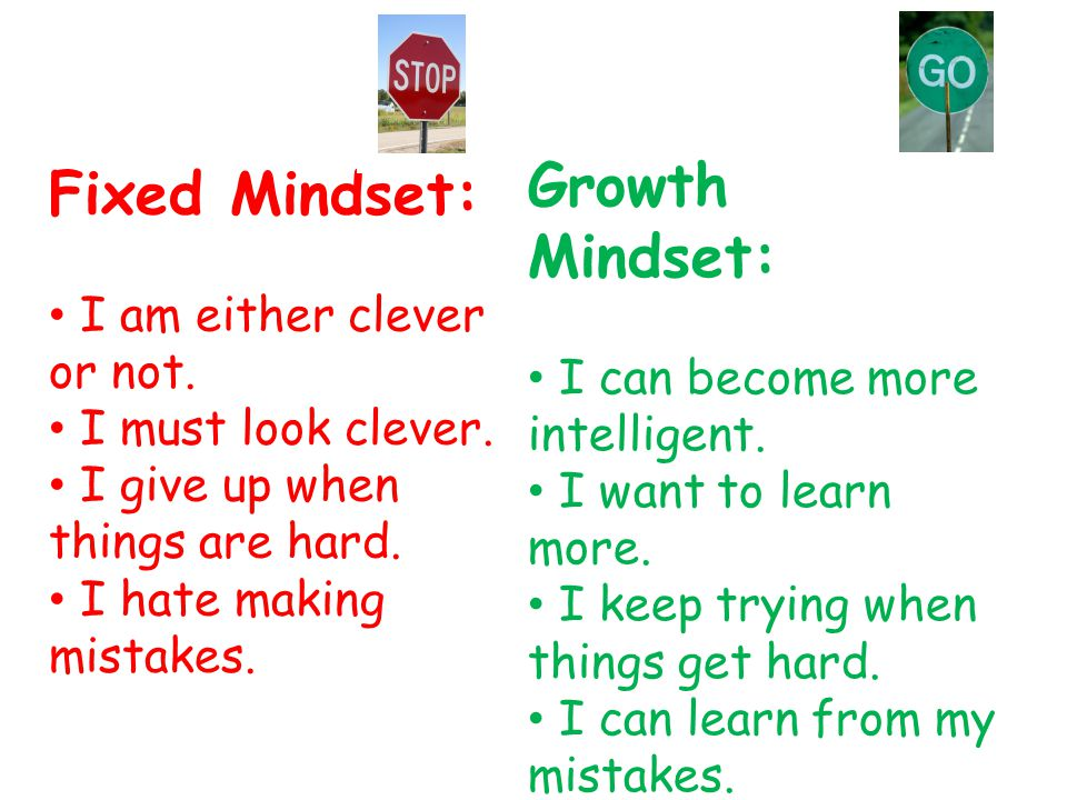 Fixed Mindset: I am either clever or not. I must look clever.