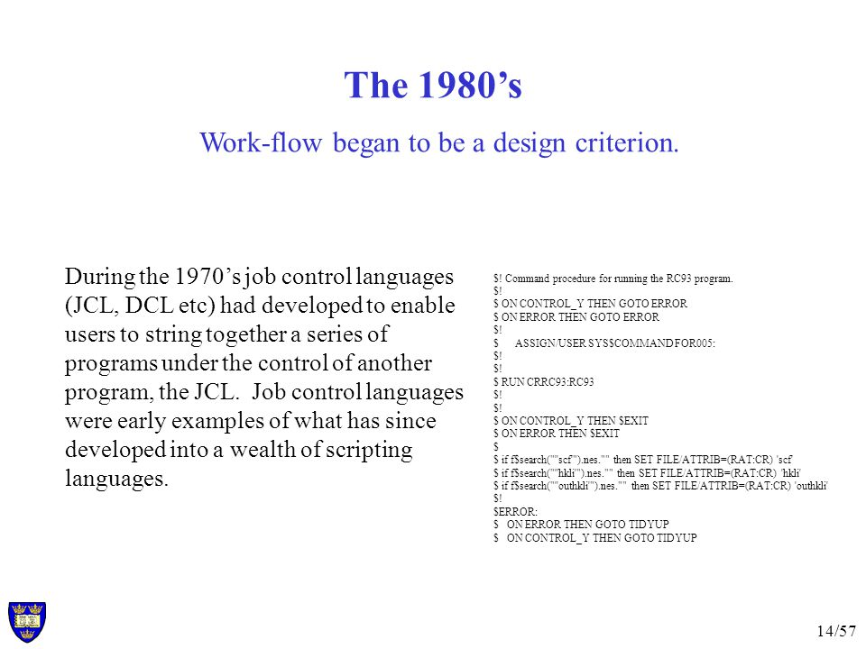 14/57 The 1980's Work-flow began to be a design criterion.