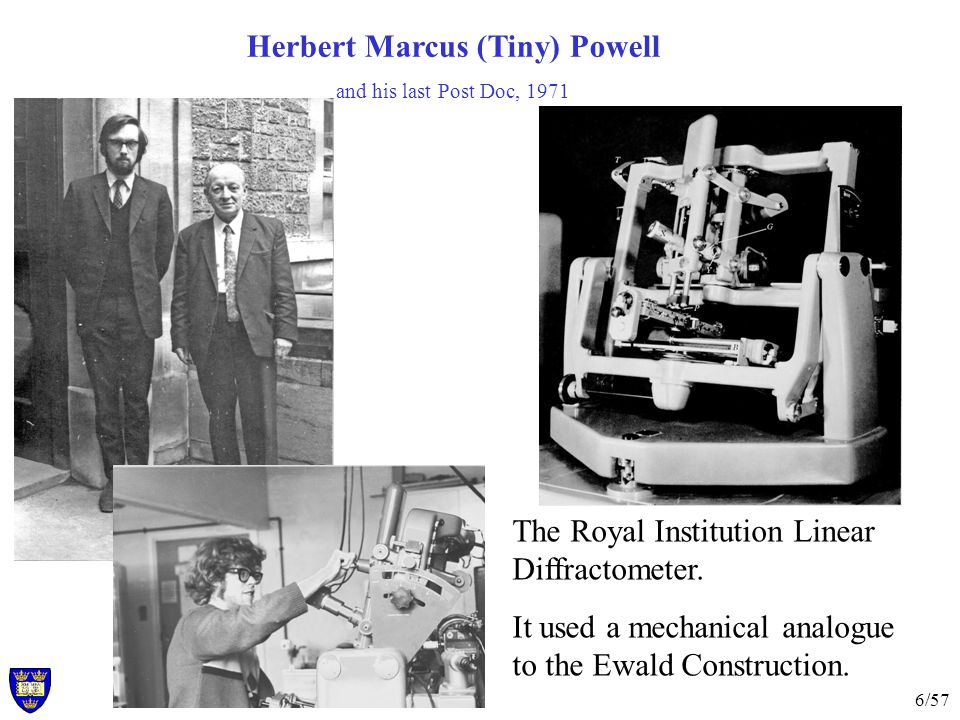 6/57 Herbert Marcus (Tiny) Powell and his last Post Doc, 1971 The Royal Institution Linear Diffractometer.