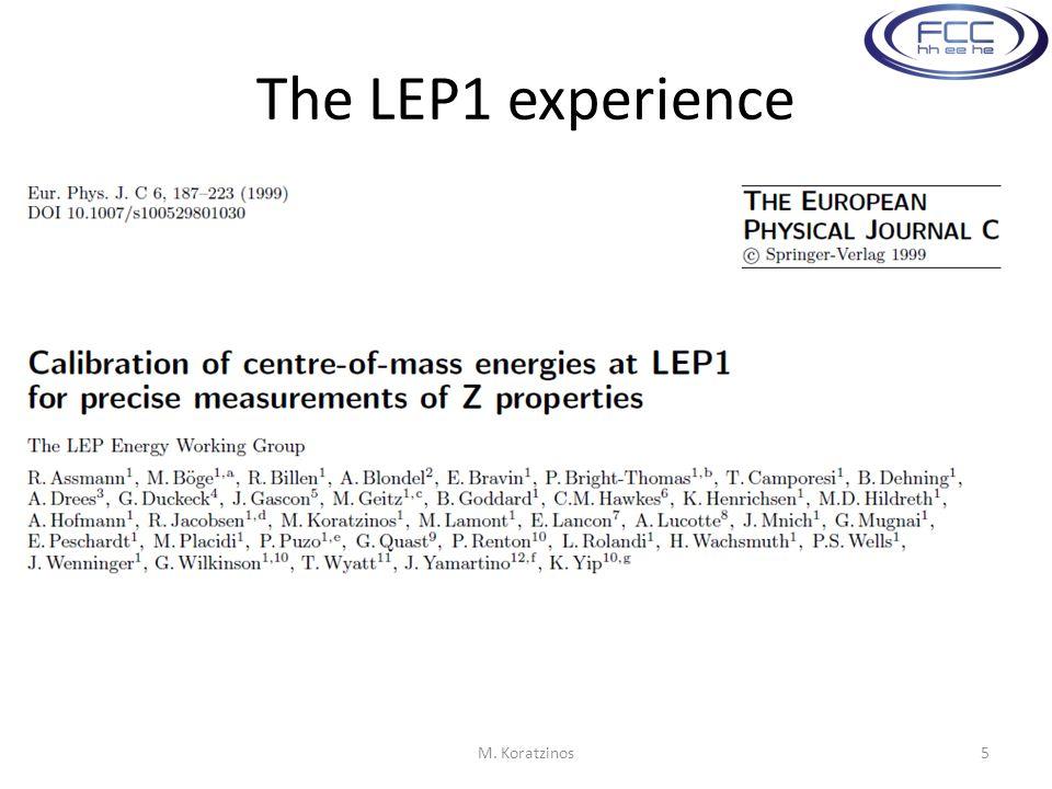 The LEP1 experience M. Koratzinos5