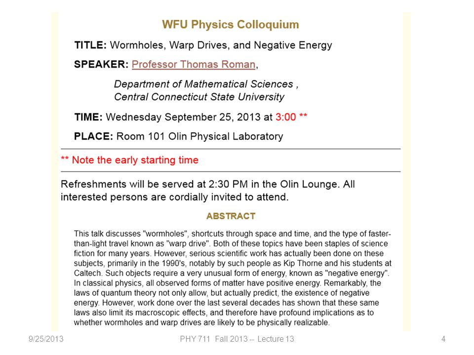 9/25/2013PHY 711 Fall 2013 -- Lecture 134