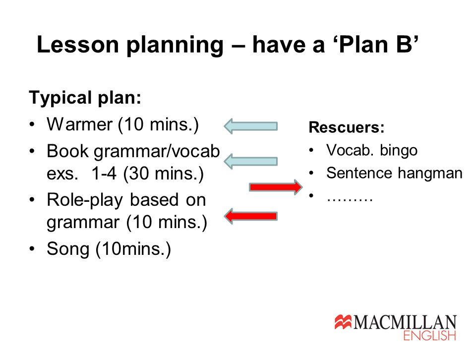 Lesson planning – have a 'Plan B' Typical plan: Warmer (10 mins.) Book grammar/vocab exs. 1-4 (30 mins.) Role-play based on grammar (10 mins.) Song (1