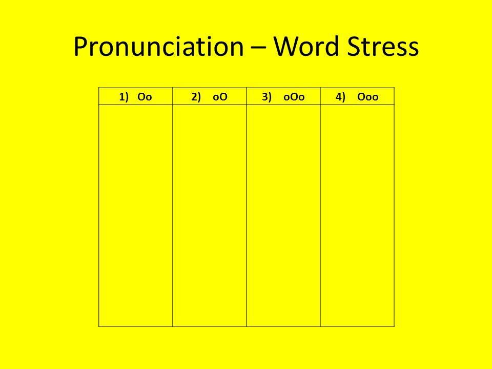Pronunciation – Word Stress 1) Oo2) oO3) oOo4) Ooo