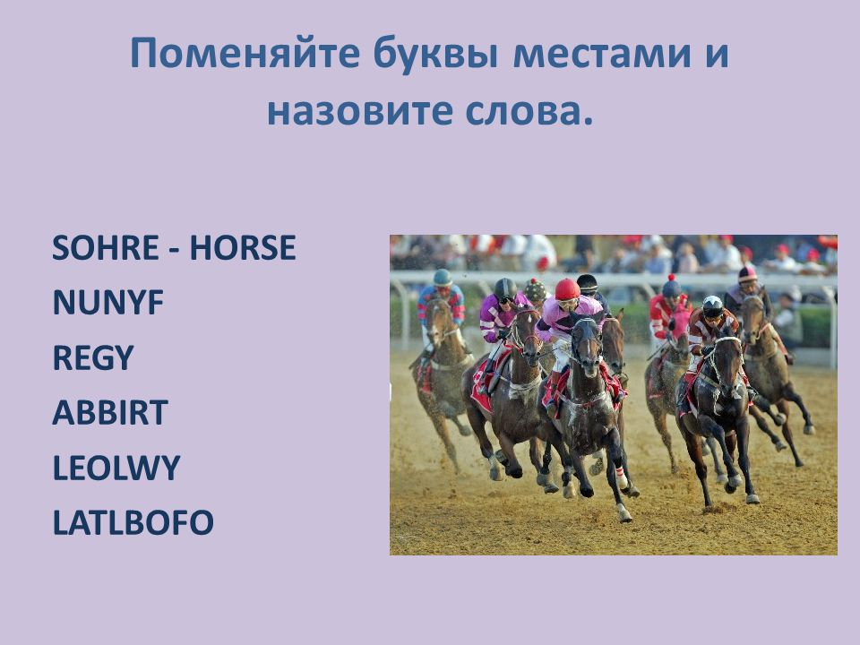 Поменяйте буквы местами и назовите слова. SOHRE - HORSE NUNYF REGY ABBIRT LEOLWY LATLBOFO