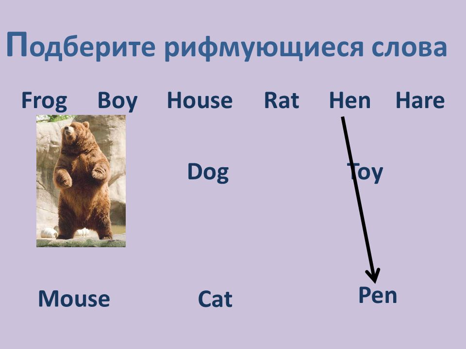 П одберите рифмующиеся слова Frog Boy House Rat Hen Hare DogToy Mouse Cat Pen
