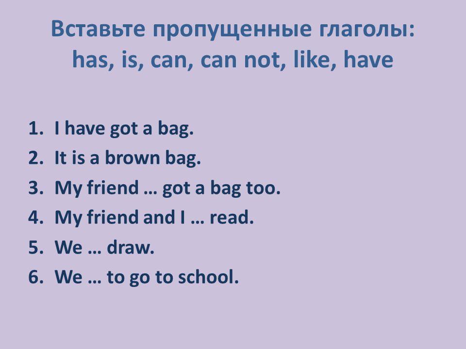 1.I have got a bag. 2.It is a brown bag. 3.My friend … got a bag too.