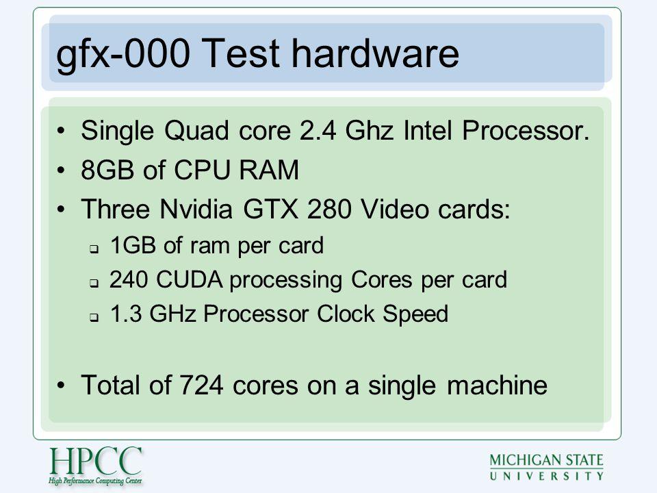 gfx-000 Test hardware Single Quad core 2.4 Ghz Intel Processor.