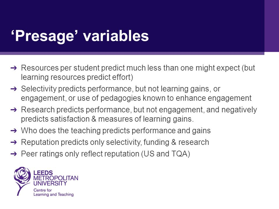 'Presage' variables ➔ Resources per student predict much less than one might expect (but learning resources predict effort) ➔ Selectivity predicts performance, but not learning gains, or engagement, or use of pedagogies known to enhance engagement ➔ Research predicts performance, but not engagement, and negatively predicts satisfaction & measures of learning gains.