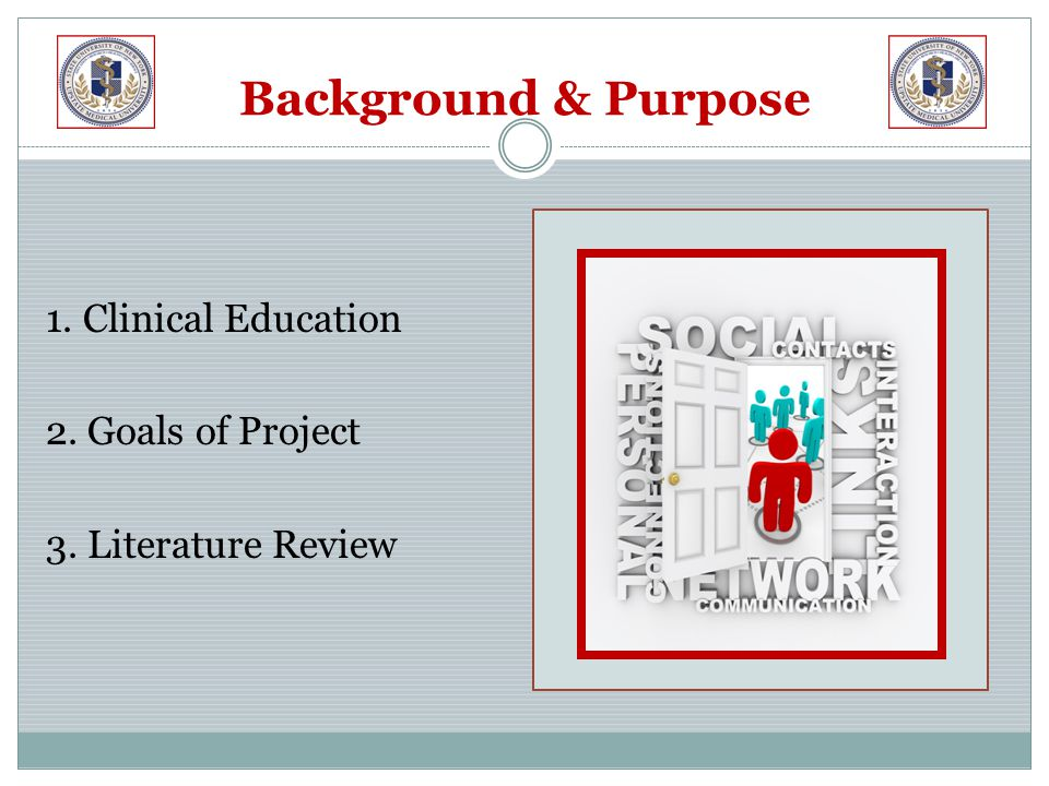 Background & Purpose 1. Clinical Education 2. Goals of Project 3. Literature Review