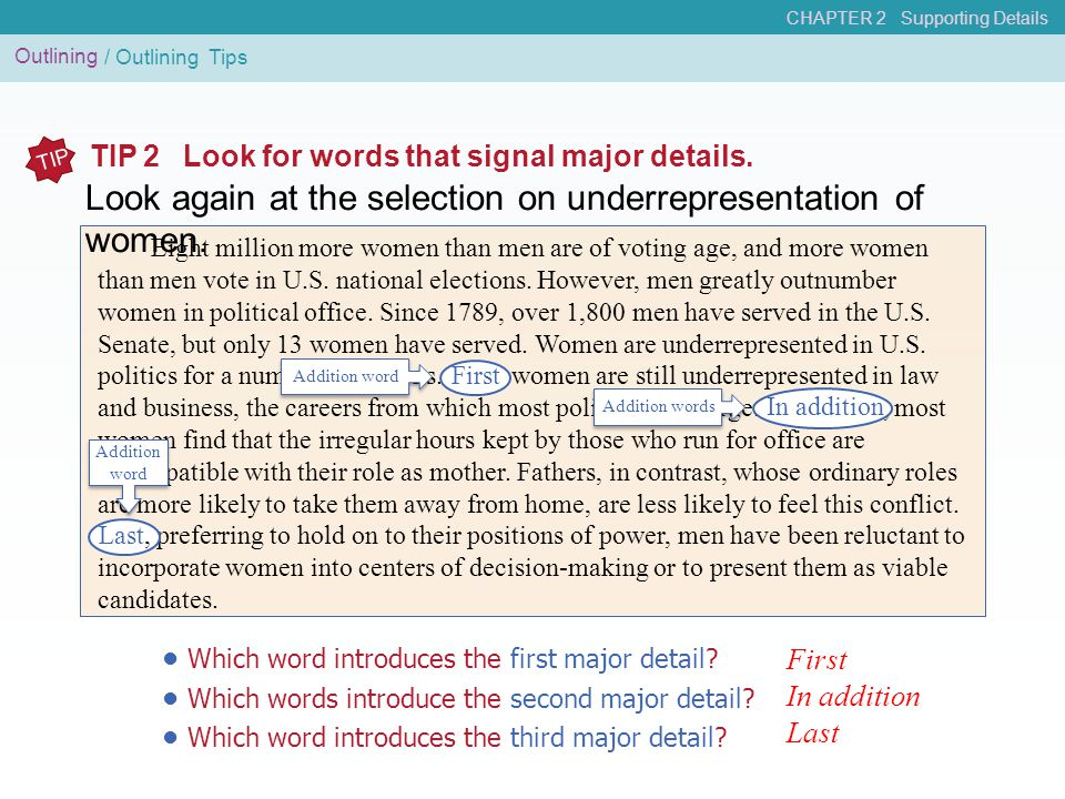 Outlining / Outlining Tips TIP TIP 2Look for words that signal major details. Eight million more women than men are of voting age, and more women than