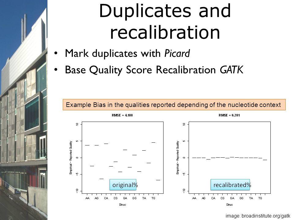 Duplicates and recalibration Mark duplicates with Picard Base Quality Score Recalibration GATK image: broadinstitute.org/gatk Example Bias in the qual