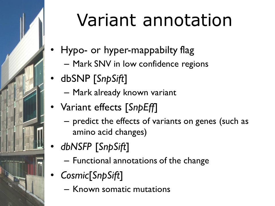 Variant annotation Hypo- or hyper-mappabilty flag – Mark SNV in low confidence regions dbSNP [SnpSift] – Mark already known variant Variant effects [S